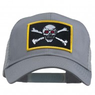 Skull Choppers Red Eyes Patched Cap - Grey