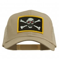 Skull Choppers Red Eyes Patched Cap - Khaki