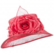 Slanted Flower Accent Sinamay Hat - Berry