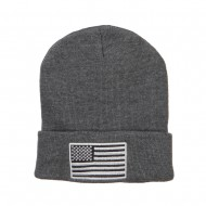 Silver American Flag Embroidered Beanie - Grey