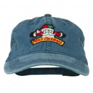 Merry Christmas Santa Claus Embroidered Cotton Cap - Navy