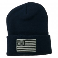 Silver American Flag Embroidered Beanie - Navy