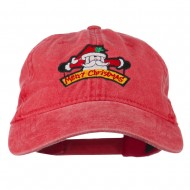 Merry Christmas Santa Claus Embroidered Cotton Cap - Red