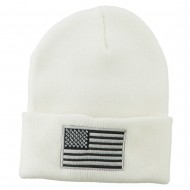 Silver American Flag Embroidered Beanie - White