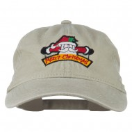 Merry Christmas Santa Claus Embroidered Cotton Cap - Stone
