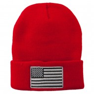 Silver American Flag Embroidered Beanie - Red