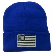 Silver American Flag Embroidered Beanie - Royal
