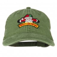 Merry Christmas Santa Claus Embroidered Cotton Cap - Olive