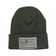 Silver American Flag Embroidered Beanie - Olive
