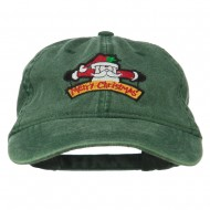 Merry Christmas Santa Claus Embroidered Cotton Cap - Dark Green