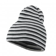 Trendy Multi Striped Beanie - Navy White Grey