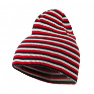 Trendy Multi Striped Beanie - Black Red White