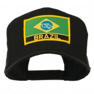 South America Brazil Flag Patched High Pro Style Cap - Black