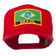 South America Brazil Flag Patched High Pro Style Cap - Red