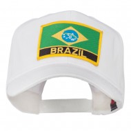 South America Brazil Flag Patched High Pro Style Cap - White
