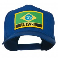 South America Brazil Flag Patched High Pro Style Cap - Royal