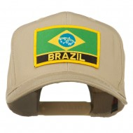 South America Brazil Flag Patched High Pro Style Cap - Khaki