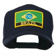 South America Brazil Flag Patched High Pro Style Cap - Navy