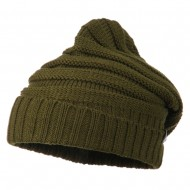 Thick Slouchy Cuff Beanie - Olive