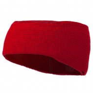 Solid Colored Rib Knit Earband - Red