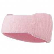 Solid Colored Rib Knit Earband - Pink