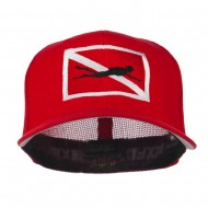 Scuba Diver Down Flag Embroidered Cap - Red