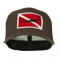 Scuba Diver Down Flag Embroidered Cap - Brown