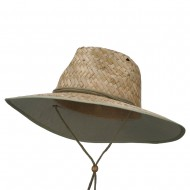 Stained Straw Braid Lifeguard Hat - Green