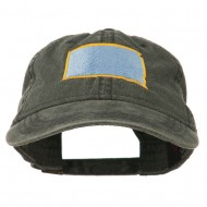 South Dakota State Map Embroidered Washed Cotton Cap - Black