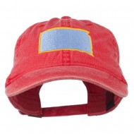 South Dakota State Map Embroidered Washed Cotton Cap - Red