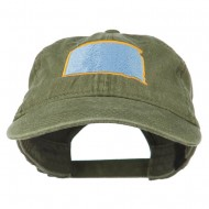 South Dakota State Map Embroidered Washed Cotton Cap - Olive Green