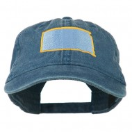 South Dakota State Map Embroidered Washed Cotton Cap - Navy