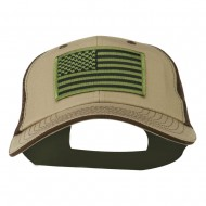 Subdued American Flag Patched Big Size Washed Mesh Cap - Khaki Brown