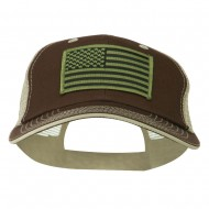 Subdued American Flag Patched Big Size Washed Mesh Cap - Brown Beige