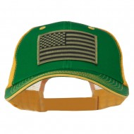 Subdued American Flag Patched Big Size Washed Mesh Cap - Kelly Gold