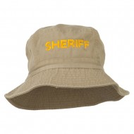 Sheriff Embroidered Pigment Dyed Bucket Hat - Khaki