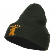 Stag Emblem Embroidered Long Beanie - Olive