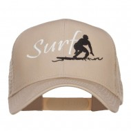 Surf Embroidered Mesh Cap - Khaki
