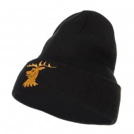 Stag Emblem Embroidered Long Beanie - Black