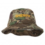 Sheriff Embroidered Pigment Dyed Bucket Hat - Camo
