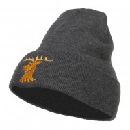 Stag Emblem Embroidered Long Beanie - Dk Grey