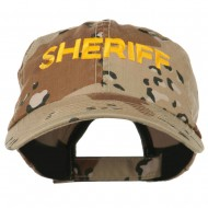Sheriff Embroidered Enzyme Washed Camo Cap - Desert