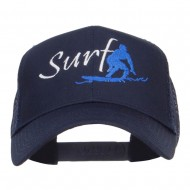 Surf Embroidered Mesh Cap - Navy