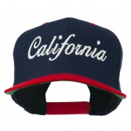 California Embroidered Snapback Cap - Navy Red