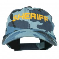 Sheriff Embroidered Enzyme Washed Camo Cap - Sky