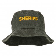 Sheriff Embroidered Pigment Dyed Bucket Hat - Charcoal