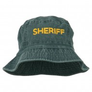 Sheriff Embroidered Pigment Dyed Bucket Hat - Navy