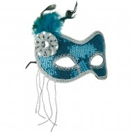 Sequin Feather Mask - Turquoise