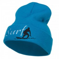 Surf Embroidered Long Beanie - Aqua