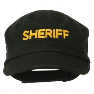 Sheriff Embroidered Enzyme Army Cap - Black